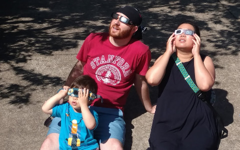 My family and I viewing the solar eclipse on August 21, 2017.